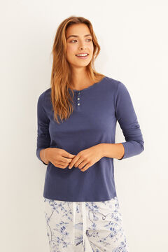 Womensecret Blue long-sleeved Henley t-shirt with lace detail blue