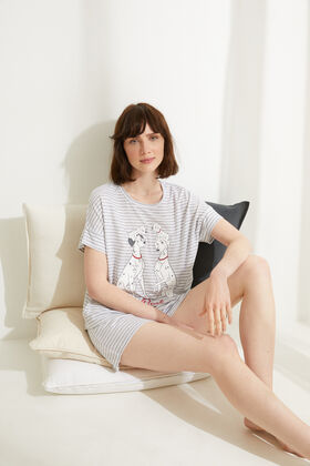 Womensecret Pyjama court coton 101 Dalmatiens rayures gris