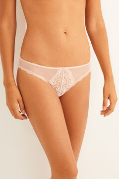 Womensecret Classic plumetis and mesh panty nude