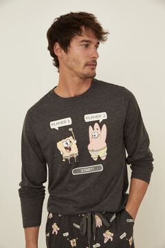 Womensecret Pijama Bob Esponja algodón gris  gris