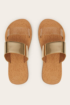 Womensecret Gold mule sandals yellow