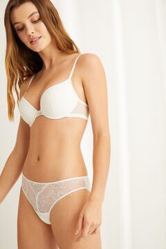 Womensecret Classic white flocked tulle and lace panty white
