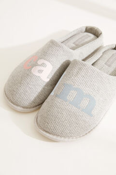 Womensecret Grey cotton slippers grey