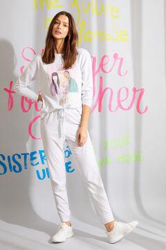 Womensecret Pijama largo algodón orgánico blanco gris