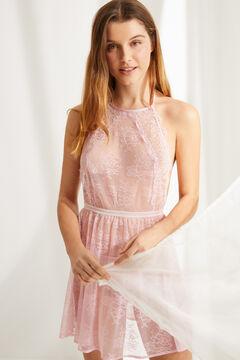 Womensecret Camisa de dormir curta halter renda rosa rosa