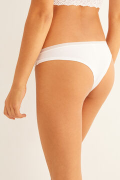 Womensecret White organic cotton Brazilian panty white