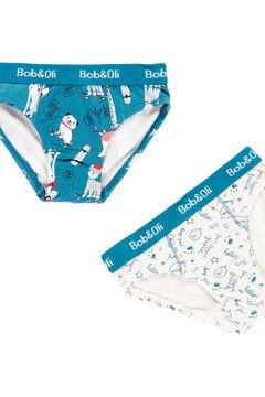 Womensecret Pack 3 cuecas para menino - Algodão orgânico azul