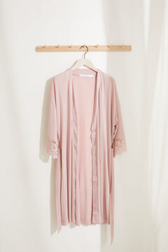 Womensecret Pink midi maternity robe in super soft jersey-knit pink