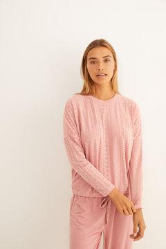 Womensecret Long pink textured pyjamas pink