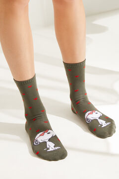 Womensecret Pack of 3 mid-length Snoopy socks printed