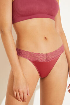 Womensecret Pink microfibre and lace tanga pink
