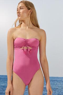 Womensecret Pink tie bandeau swimsuit pink
