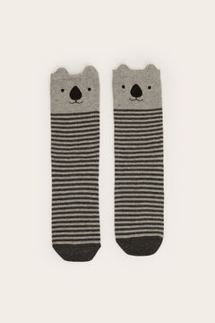 Womensecret Long striped koala socks grey
