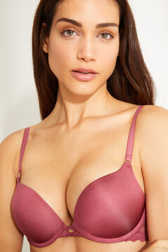 Womensecret OPTIMISTIC Pink lace detail maxi push-up bra pink