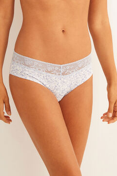 Womensecret Blue full cotton panty with lace blue