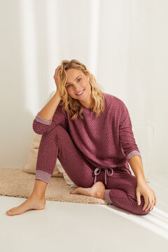 Womensecret Long double-face pyjamas in maroon red