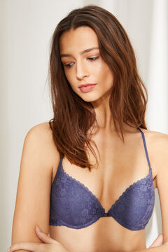 Womensecret GORGEOUS Blue lace strappy back push-up bra blue