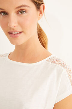Womensecret White short-sleeved t-shirt lace detail beige