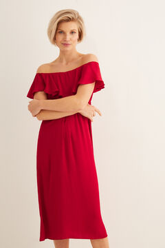 Womensecret Satin midi dress burgundy