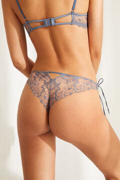Womensecret Tanga dentelle brodée bleu bleu