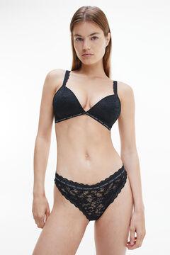 Womensecret Sujetador triangular de encaje con cinturilla de Calvin Klein negro