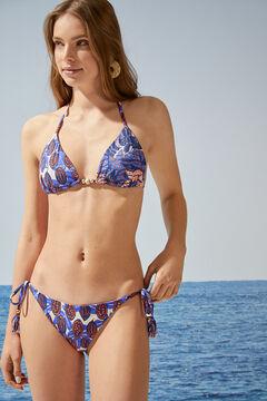 Womensecret Tropical print side tie bikini bottoms blue