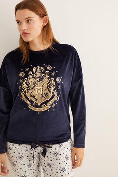 Womensecret Pijama comprido veludo Hogwarts azul