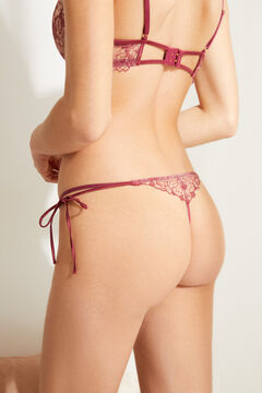Womensecret Maroon embroidered lace G-string printed