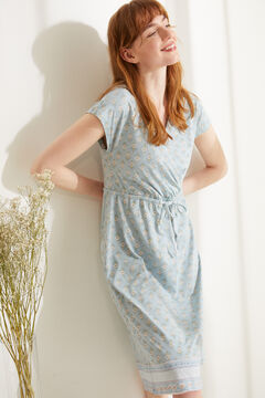 Womensecret 100% sustainable cotton midi nightgown blue