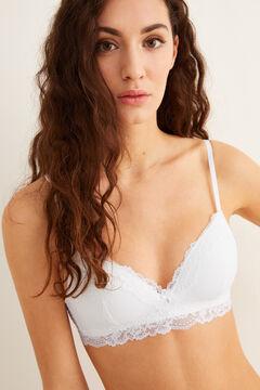 Womensecret LOVELY Sujetador triangular mesh y encaje blanco