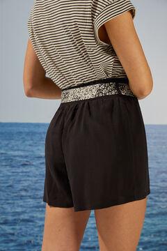 Womensecret Pantalon court minifleurs noir