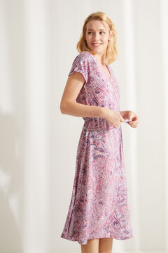 Womensecret Sleeveless midi nightgown in paisley print brown
