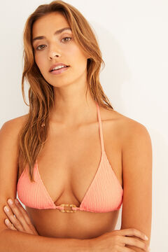 Womensecret Top bikini triangle nouage rose