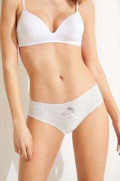 Womensecret Pack 7 braguitas ancha clásica algodón Hello Kitty gris