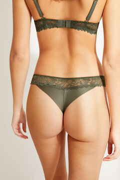 Womensecret Green lace Brazilian panty beige