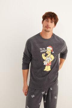 Womensecret Langer Fleece-Pyjama Herren Homer Simpson grau
