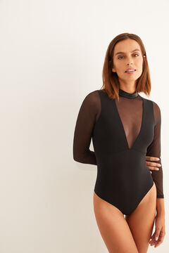 Womensecret Long-sleeved tulle body with crystal details black