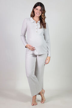 Womensecret Polo and comfortable wide maternity trouser set grey