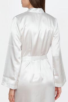 Womensecret Ivette Bridal women's short white satin robe beige