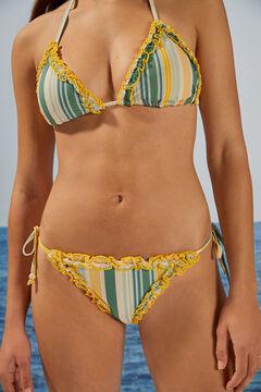 Womensecret Classic striped flounced bikini bottoms green