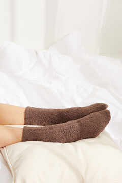 Womensecret Ribbed fluffy mid-length socks grey