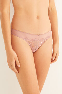 Womensecret Plumetis and lace pink tanga pink