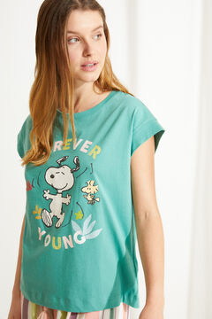 Womensecret 100% cotton short-sleeved Snoopy top green