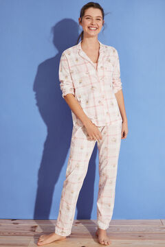 Womensecret Long checked 100% cotton Spongebob pyjamas pink