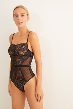 Womensecret Body without padding in tulle and floral lace black