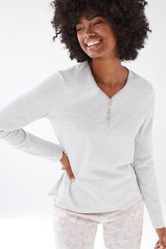 Womensecret Grey cotton long-sleeved Henley top grey
