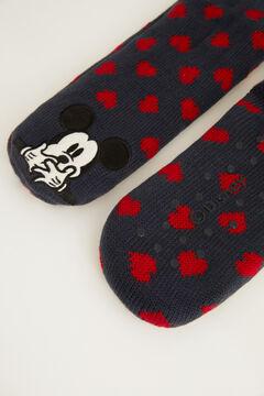 Womensecret Fluffy Mickey Mouse non-slip ankle socks blue