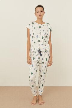 Womensecret Ivory cotton Snoopy pyjamas red