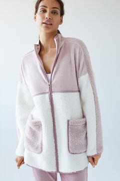 Womensecret Pink faux shearling robe pink