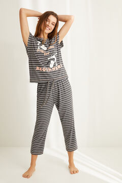 Womensecret Striped Snoopy print pyjamas grey